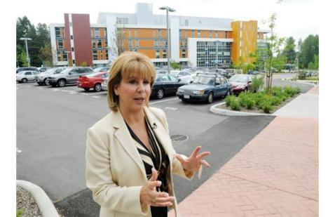 Mayor Dianne Watts talks to media outside the Jim Pattison Outpatient Care and Surgery Centre in Surrey on June 8, 2011.